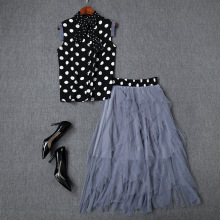 Skirt Set Summer Women 2019 New Turn Down Collar Bow Sleeveless Polka Dot Shirt Top + Elastic Waist Mesh Skirt Two Piece Set cutout waist gold polka dot velvet top