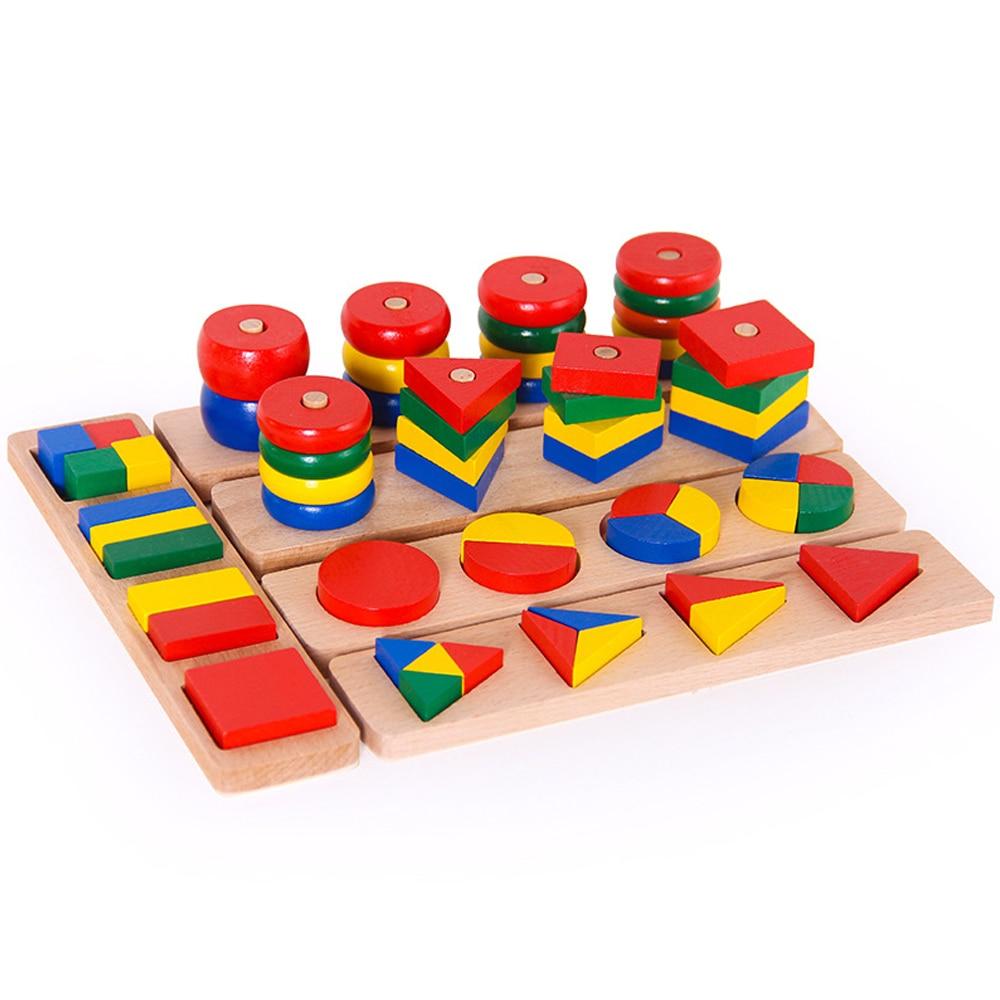 Montessori jouets géométrie maths jouets en bois 8 en 1 ensemble cylindre blocs éducatifs jouets enfants aides pédagogiques pour enfants cadeaux - 4