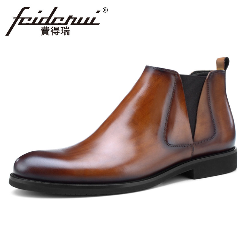 New Arrival Vintage Genuine Leather Men's Chelsea Ankle Boots Classic Round Toe Handmade Cowboy Riding Shoes For Man BQL187