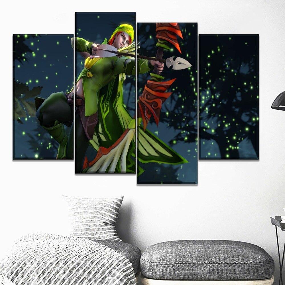 4 painel modular estilo imagem da parede casa decorativa lona impressão dota 2 windranger jogo cartaz para sala de estar ou quarto