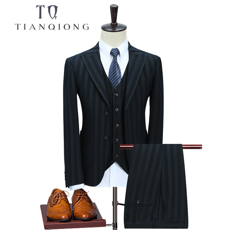 TIAN QIONG New Men Suit Custom Made Green Mens Striped Suit Groom Wedding Business 2 Button Men Suits with Pant Vest 3 Pieces