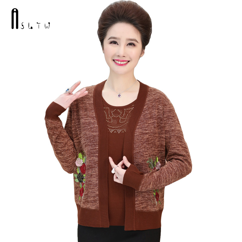ASLTW Embroidery Floral Sweater Women New Autumn O Neck Cardigan Sweater Plus Size Real Two Piece Female Sweater Sets
