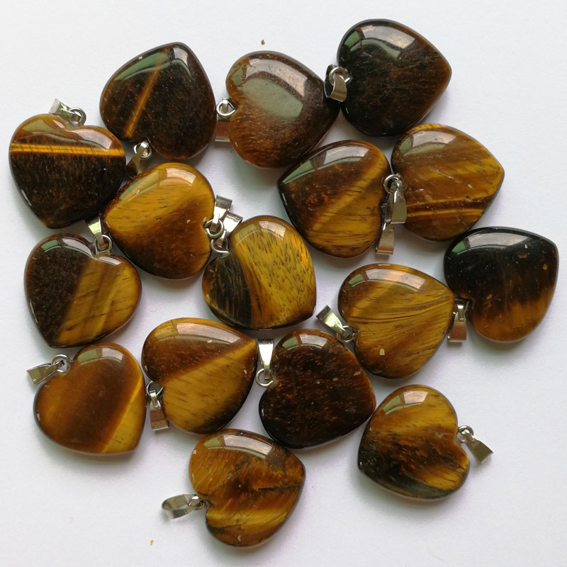 Wholesale fashion 20MM natural tiger eye stone pendants charms love heart stone Pendant Necklace 100pcs lot