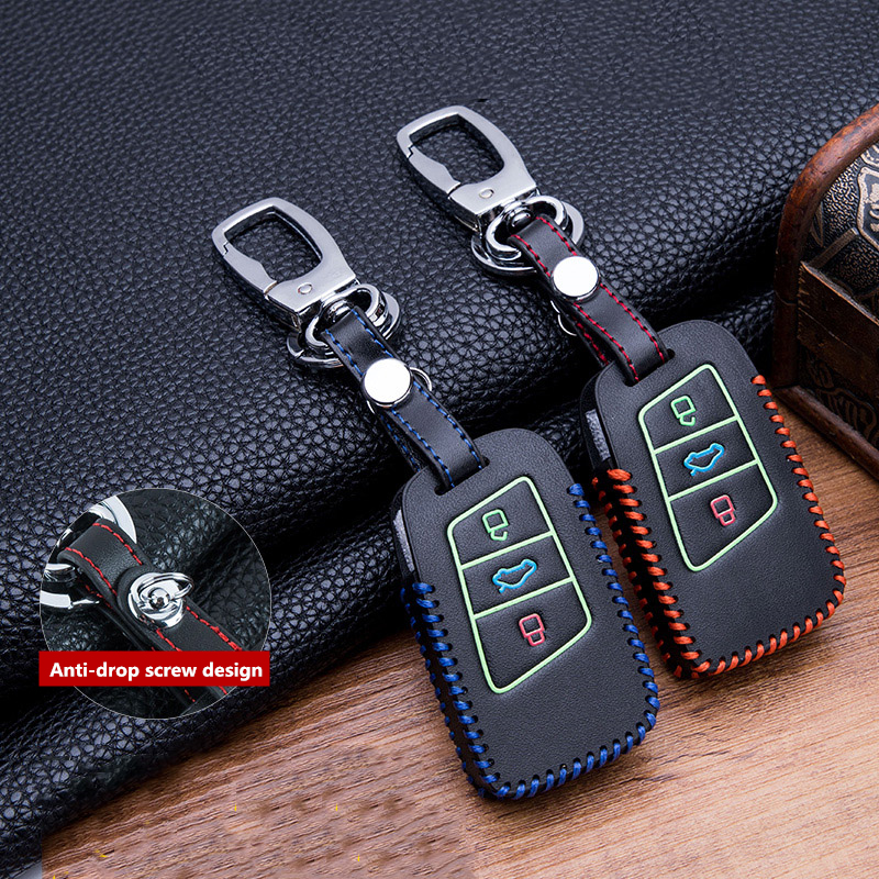 Hand sewing Luminous Leather key fob case holder for VW Skoda Superb Magotan Passat B8 A7 Golf Smart Remote Protector Skin Cover-in Key Case for Car from Automobiles & Motorcycles
