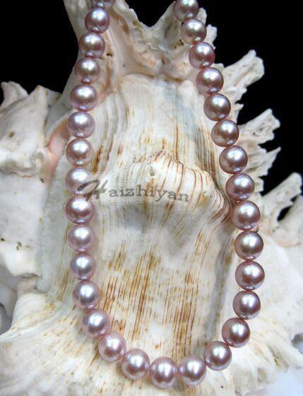 Collier classique 18 8-9 MM naturel mer du sud rose violet perle 925 argentCollier classique 18 8-9 MM naturel mer du sud rose violet perle 925 argent