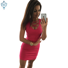 Ameision 2019 Summer Sexy Slim Women Dress Solid Color U-neck Cross-belt Sleeveless Plus Size Package Hip Dresses