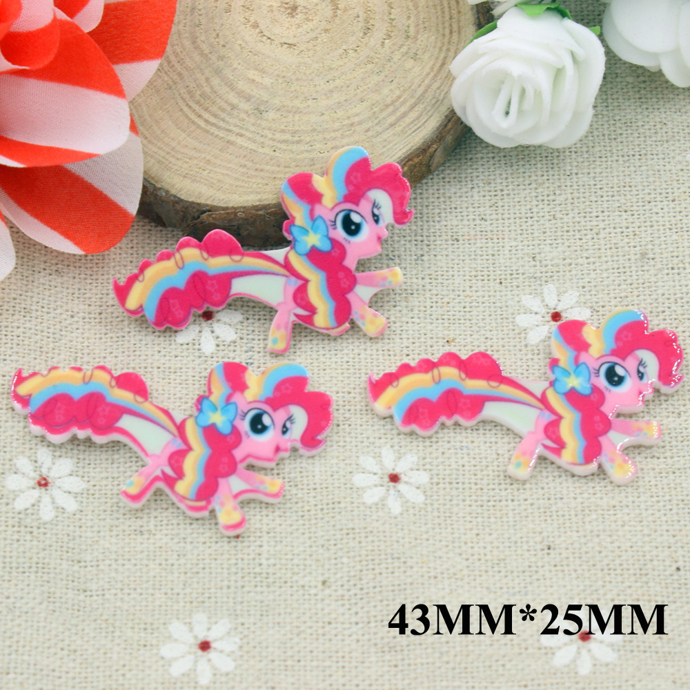 50pcs/lot 43*25CM Cartoon Cute Pony Horse Flatback Resins Planar Resin Cabochon DIY Craft Embellishments For Scrapbooking FR089