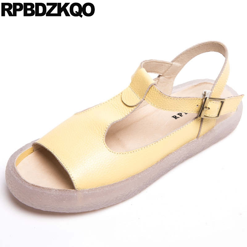 High Quality Peep Toe T Strap Soft Yellow Shoes Slingback Women Sandals Flat Summer 2018 Big Size Ladies Genuine Leather RubberHigh Quality Peep Toe T Strap Soft Yellow Shoes Slingback Women Sandals Flat Summer 2018 Big Size Ladies Genuine Leather Rubber
