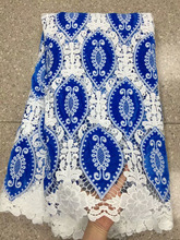 Blue African Velvet Lace Fabric 2018 Latest Design Voile With Water Soluble For Nigerian Wedding Dress