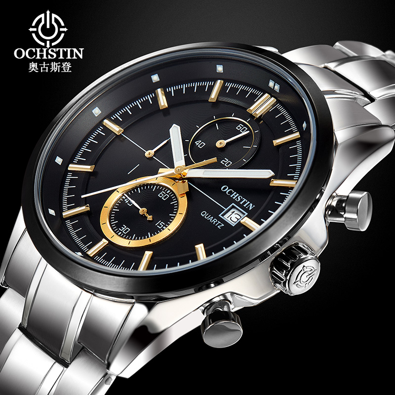 2017 Sale Ochstin Luxury Brand Analog Display Date Men's Quartz Watch Hour Clock Casual Business Men Watches Relogio Masculino skmei luxury brand stainless steel strap analog display date moon phase men s quartz watch casual watch waterproof men watches
