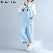 Jinsen Aite женские джинсовые брюки осень большой размер свободные повседневные Широкие Брюки Промытые светло-голубые комбинезоны джинсовые брюки Femme JS05