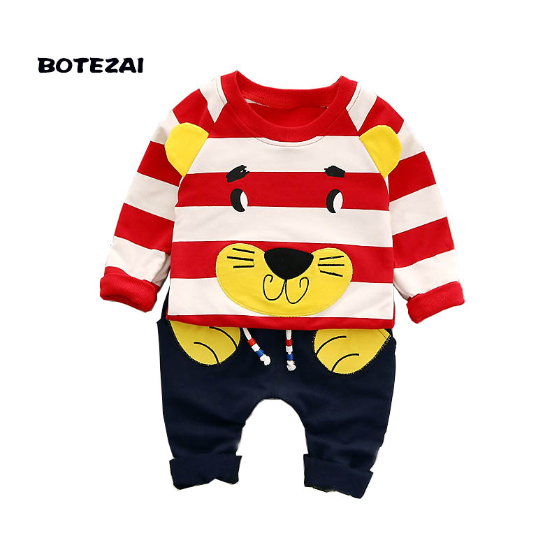 цены Baby Boys Clothing Sets 2017 Autumn Winter Kids Girls Clothes Set T-shirt+Pants 2pcs Outfit Boys Sport Suit Children Clothes
