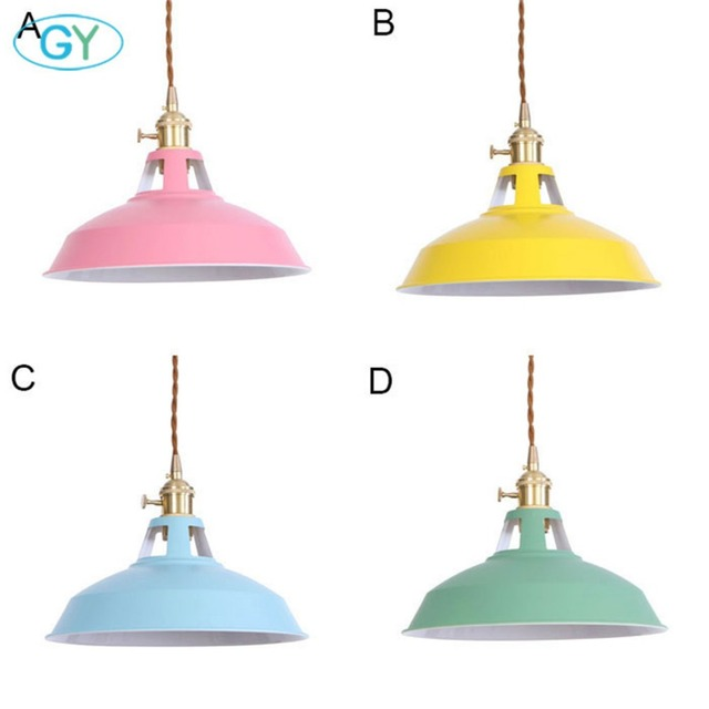 Industrial Pendant Light with Cut-outs on the Top Pink Yellow Light Blue Green Art Deco Shade Pendant Lamp Switch Hanging Lights