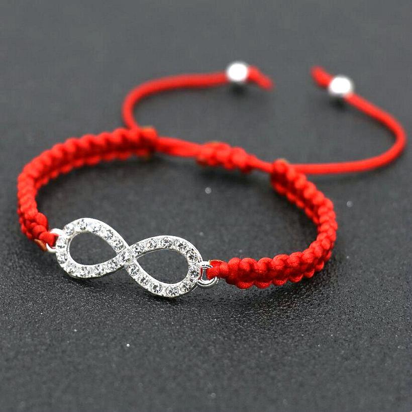Women Silver Color Rhinestone Digital 8 Infinity Charm Braid Bracelets Men Red Thread Bracelet For Boy Girls Kids Lovers' Gift