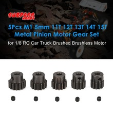 SURPASS HOBBY 5Pcs M1 5mm 11T 12T 13T 14T 15T Metal Pinion Motor Gear Set for 1/8 RC Car Truck Brushed Brushless Motor fz hot sale surpass hobby 4268 2650kv 4 poles sensored brushless motor for 1 8 rc racing car truck truggy on road