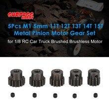 цена на SURPASS HOBBY 5Pcs M1 5mm 11T 12T 13T 14T 15T Metal Pinion Motor Gear Set for 1/8 RC Car Truck Brushed Brushless Motor fz