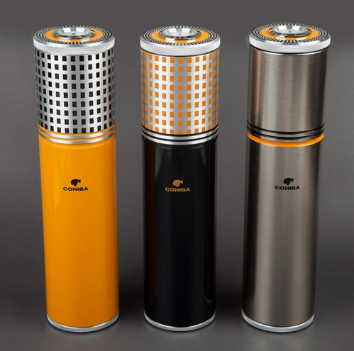 COHIBA font b Gadgets b font Aluminium Alloy Travel Cigar Case Tube Portable Jar Humidor Humidifier