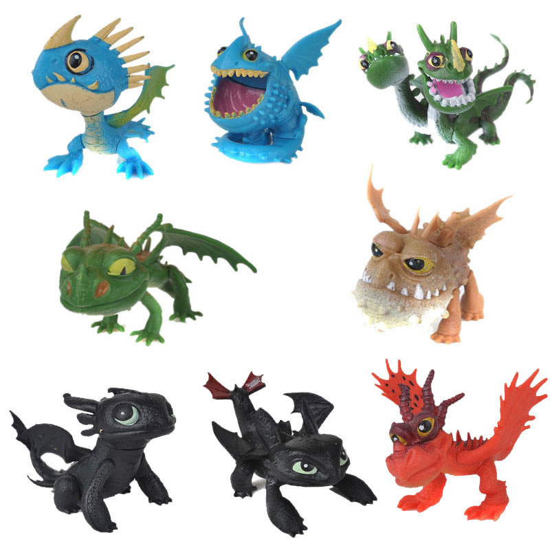 8PCS/Set 5-7CM How To Train Your Dragon 2 Figures Night Fury Toothless PVC Dragon Action Figures Children Kids Toys Model Gift