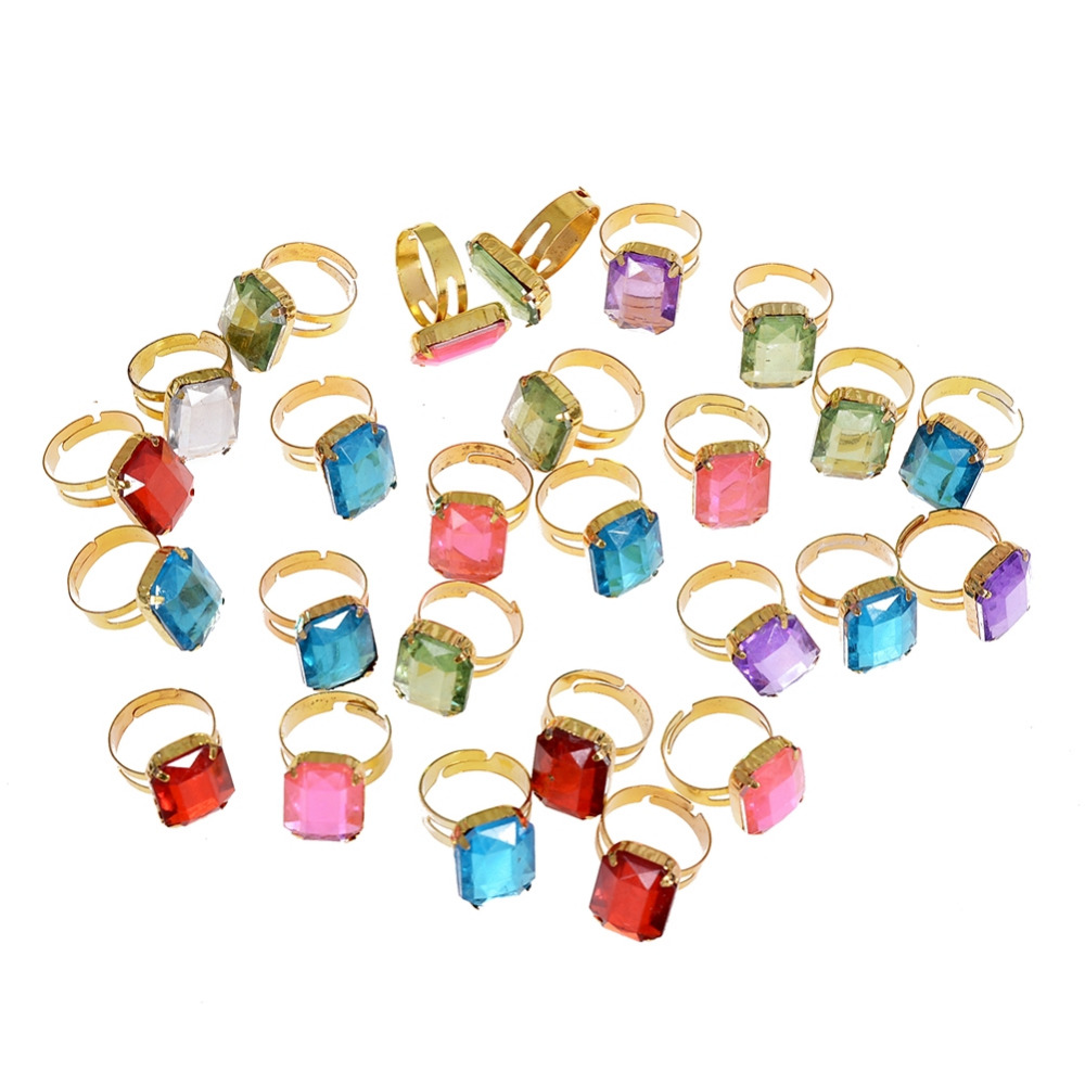 5 Pcs Wholesale Mixed Colors Square Acrylic Crystal Rings For Childrens Fashion Kid Gift Party Fashion Jewelry