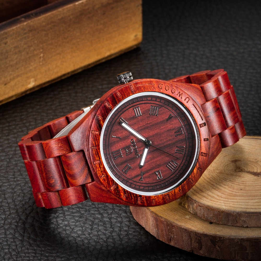 18 Hot Sell Men Dress Watch QUartz UWOOD Mens Wooden Watch Wood Wrist Watches men Natural Calendar Display Bangle Gift Relogio 24