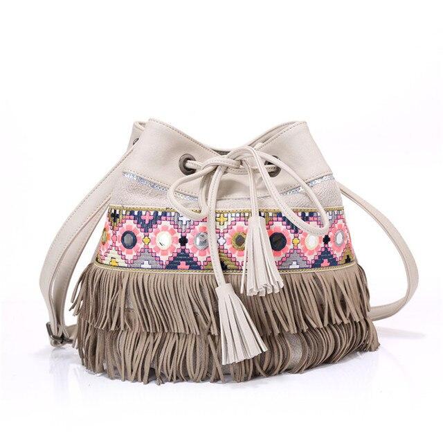 Women Boho Tassel Straw Hippie Bucket Handbag Gypsy Tote Bags Ethnic Bag Summer Lady Beach Shoulder