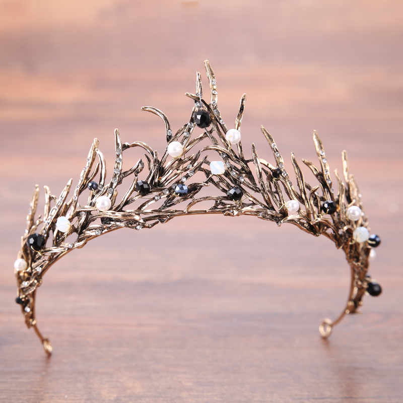 Rhinestone Waterdrop Leaf Tiara Crown Headband Wedding Hair Jewelry