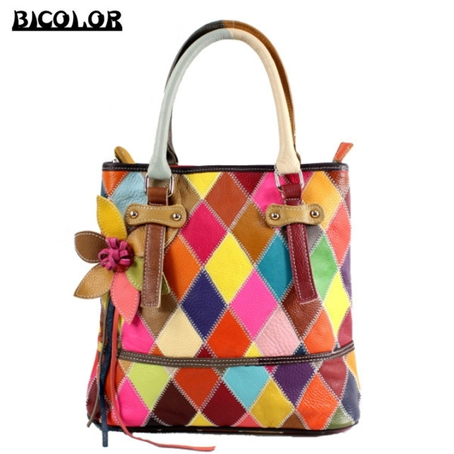 Bicolor Handbag Handmade Multicolor Luxury Women Genuine Leather Handbags Shoulder Bags Las Fl Tassel Pattern