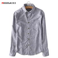 New 2018 Spring Fashion Linen Shirts Men Striped Long Sleeved Casual Soft Comfortable Breathable Cotton Linen
