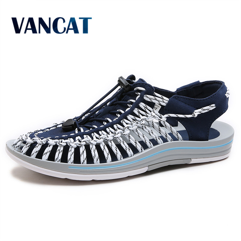 VANCAT 2017 New arrived summer sandals men shoes quality comfortable men sandals fashion design casual men sandals shoes casual men s sandals with striped and velcro design