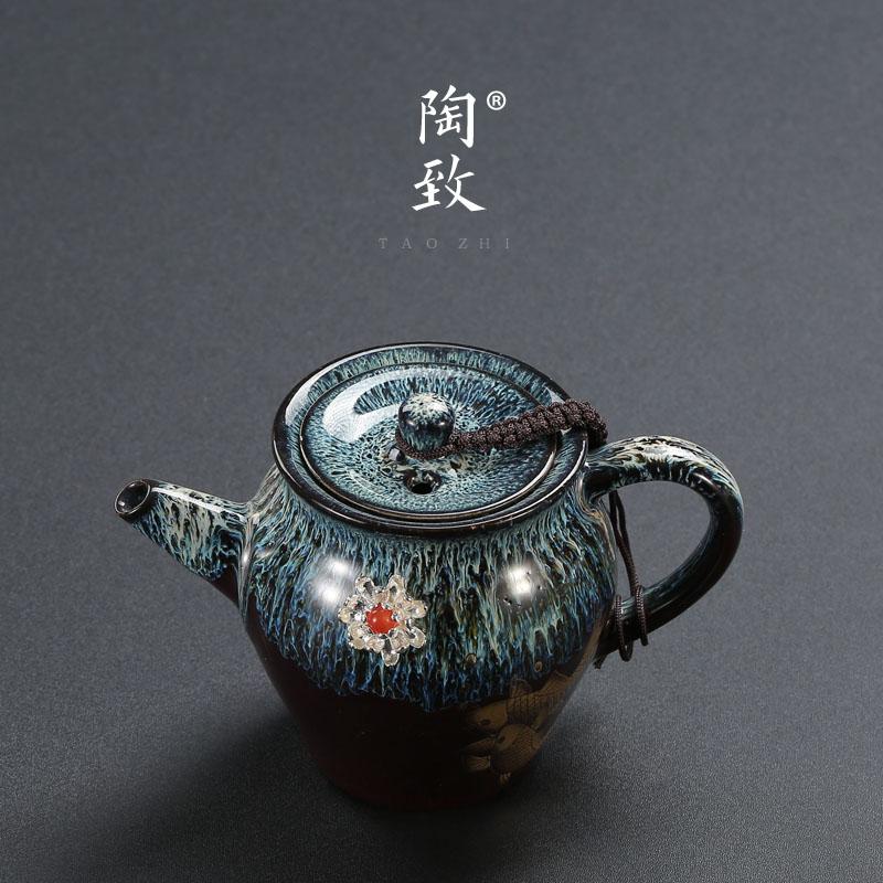 Jingdezhen forno de cerâmica escovado prata bule de cerâmica bule handmade embutidos de prata esterlina