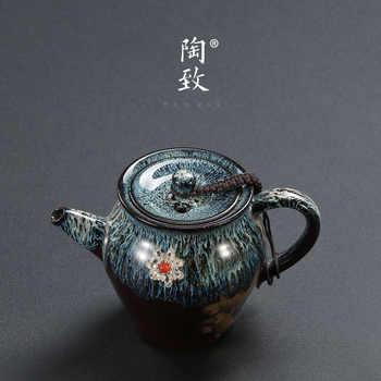 Tetera de cerámica con incrustaciones hechas a mano de plata de ley tetera de cerámica