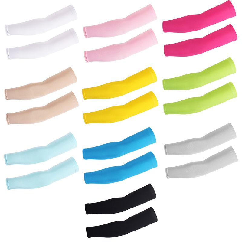 Unisex Summer UV Protection Milk Silk Cooling Arm Sleeves Anti-Slip Candy Color Protective Cycling Running Long Cover Mittens