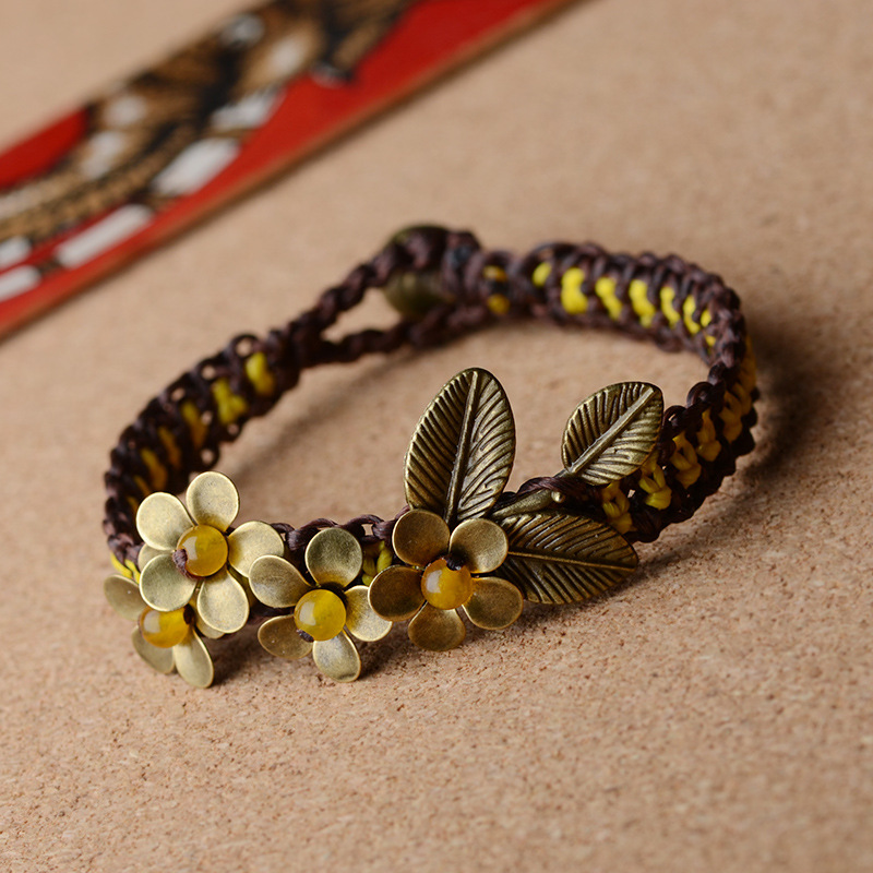 Bracelets et Bracelets de Soutache de fleur de cuivre de pierre jaune bohème faits à la main | accessoires de plage Bracelet de bohême femme en gros