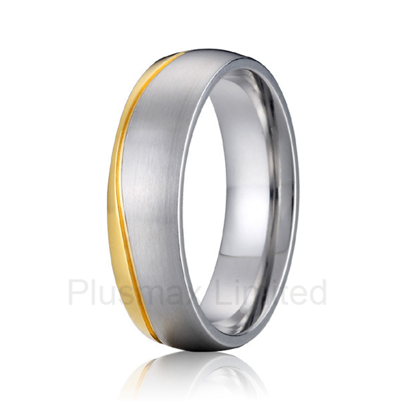 anel masculino cheap pure titanium jewelry classic two tone bicolor wedding band jewelry finger rings for men 6mm women men classic brushed pure titanium wedding band ring for school graduation cocktail size 4 12 anel de formatura