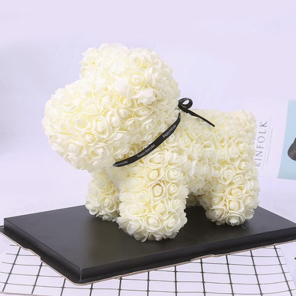 Искусственные цветы розы Медведь собака кролик Мопс юбилей день Святого Валентина подарок на день рождения мать подарок Свадебная вечеринка украшение - Цвет: 40CM Beige Dog