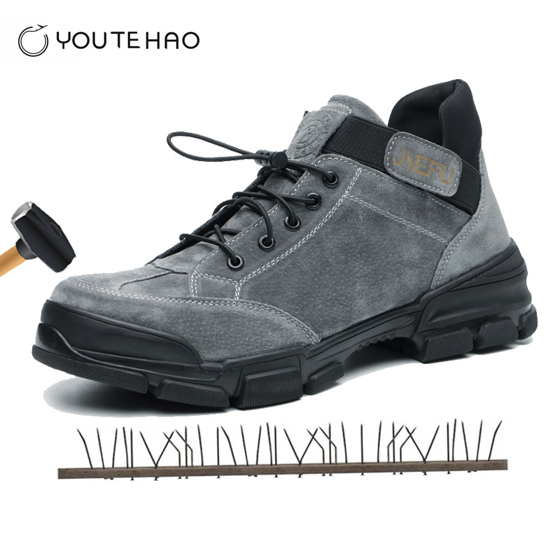 High-top safety shoes steel head anti-smashing stab-resistant penetrating gas casual fashion welding work shoes