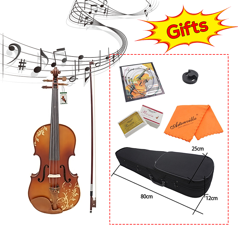 Aston 4/4 Spruce wood Carving Violin with Bow String Rosin Mute Case AV-30 Exquisite Appearance Convenient Spruce Wood RosinAston 4/4 Spruce wood Carving Violin with Bow String Rosin Mute Case AV-30 Exquisite Appearance Convenient Spruce Wood Rosin