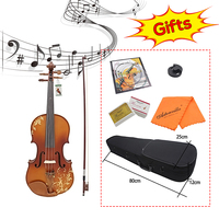 Aston 4/4 Spruce wood Carving Violin with Bow String Rosin Mute Case AV 30 Exquisite Appearance Convenient Spruce Wood Rosin