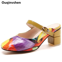 Ouqinvshen Crystal Mules Shoes Women Square Toe Mixed Colors Consice Casual Fashion Women Heels Buckle Strap Women Slippers