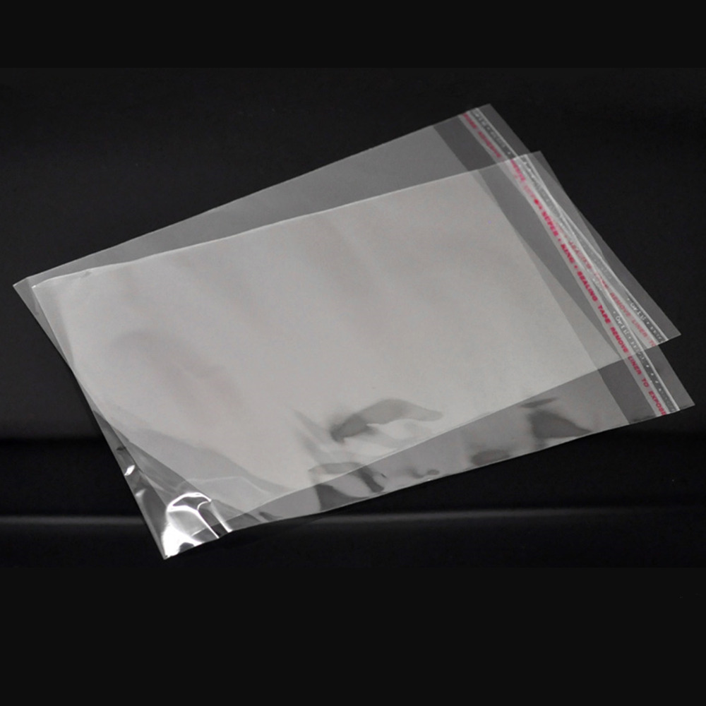 Doreen Box Hot-  100PCs Clear Self Adhesive Seal Plastic Bags 20cmx13cm (Usable Space 17cmx13cm) (B19649)