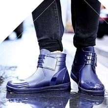 Short tube Rain shoes Man Low-Help Rain Boots Non-slip Waterproof shoes Rubber shoes fashion Trend Chef's shoes water boots цена