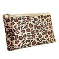 SCYL Viajes Cremallera Estampado de Leopardo Espejo Bolsa de Cosméticos de Color Beige Marrón