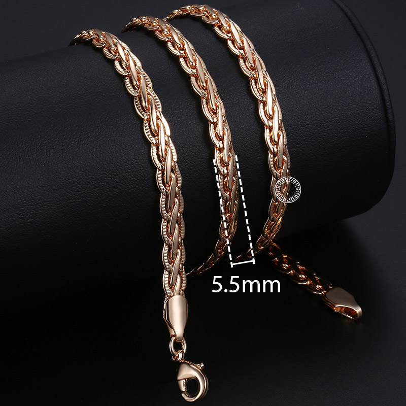 Personalize Necklace For Women Men 585 Rose Gold Venitian Curb Snail Foxtail Link Chains Necklace Fashion Jewelry 50cm 60cm CNN1 5