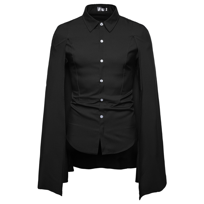 2019 New Foreign Trade Men's Casual Fashion Personality Tailored Cape Square Collar Row Button Long-sleeve Shirt