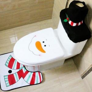 Image 4 - Alfombrilla navideña de Papá Noel para asiento de inodoro, decoración navideña para baño, cubierta de asiento de Papá Noel, alfombra para decoración del hogar, 3 uds., 2020