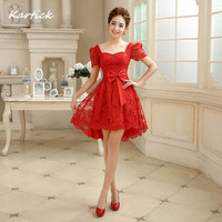 Latest Evening Dresses Bride Gown With Short Sleeve Glamorous Lace Princess Ball Prom Party Homecoming Graduation