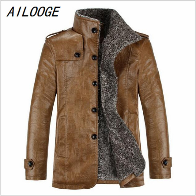a3541be147ac0 2017 New Brand PU Leather Jacket Men Winter Jackets and Coats Thickening  Wool Windbreak Warm Jaquetas