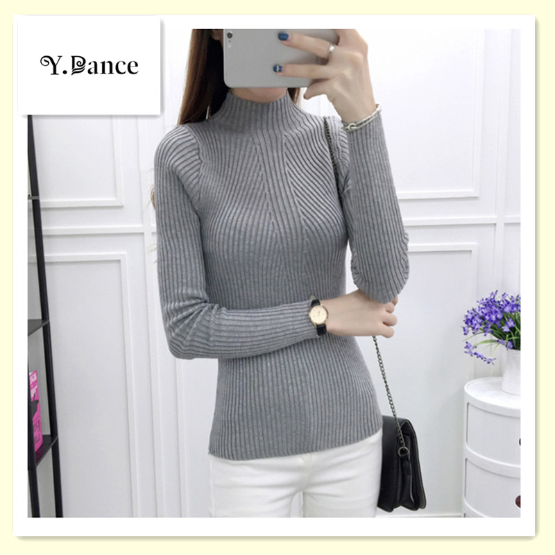 2017 New Women Turtleneck knitted Sweater Female knitted Slim Pullover Ladies All-match Basic Thin Long Ssleeve Shirt Clothing