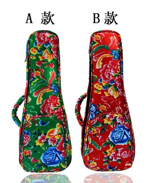Vintage 21 23 24 26inch soprano concert tenor ukulele bag backpack case soft gig beautiful patten Phoenix Flower green red color
