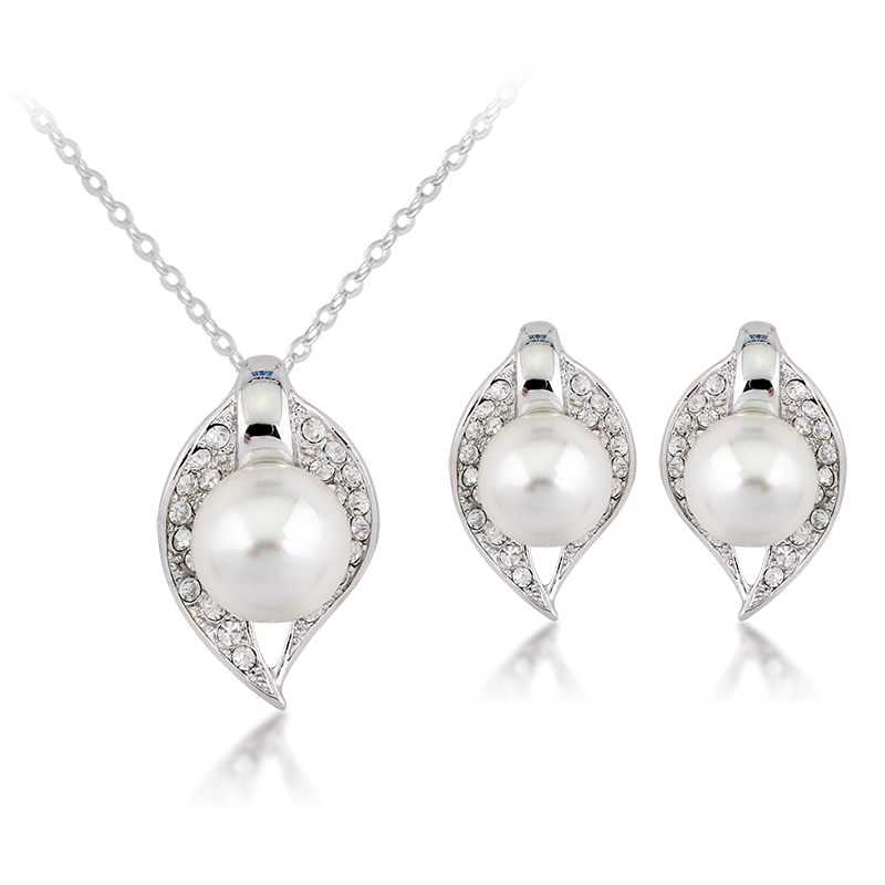 White Gold Color Clear Crystal Full Pave Big Pearl 20 ...